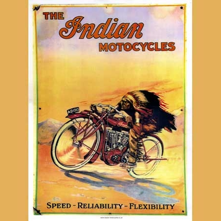 Indian Advertisement Poster Indian Motorcycles Advertising