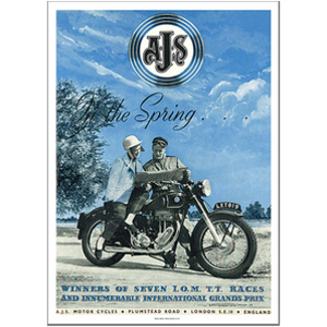 AJS in Spring Motorcycle Advertising Poster