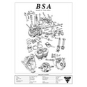 BSA Model A7 Twin 500 Engine Spec Poster