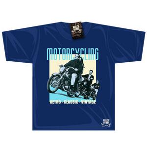 Black Rebel Classic Motorcycle T-shirt Dark Blue