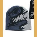 Dragon Beanie Hat:  Grey/Blue