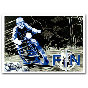 FN Motorcycle Advertising Poster Blue