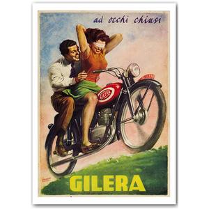 Gilera Motorcycle Races Vintage Poster