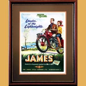 James 197 Motorcycle Advertising Poster