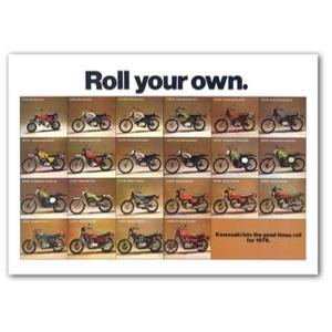 Kawasaki 1976 off Road Line-up Motorcycle Classic Advertising Poster