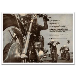 Kawasaki 500 H1 Motorcycle Classic Advertising Poster