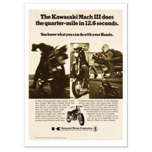 Kawasaki 500 H1 Quarter Mile Motorcycle Classic Advertising Poster