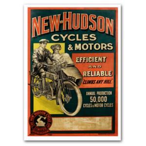 New Hudson Motorcycle Advertising Poster