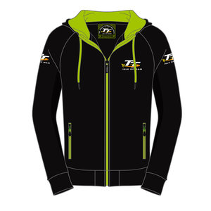 OFFICIAL TT MERCHANDISE 19AH3 - Black with Green TT Hoodie