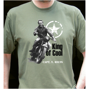 SoCal, King of Cool, Capt. V. Hilts – Steve Mcqueen Motorbike T Shirt