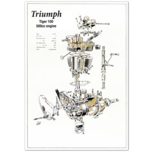 TRIUMPH 500cc Pre unit Tiger 100 Engine Poster