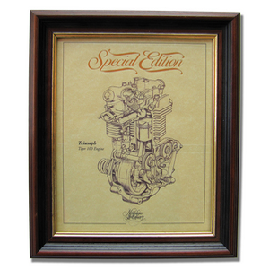 TRIUMPH TIGER 100 Gold Leaf Limited Edition Engine Drawing