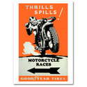 Thrills & Spills Motorcycle Races Vintage Poster