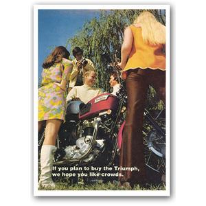 Triumph Bonneville Crowd Vintage Motorcycle Poster