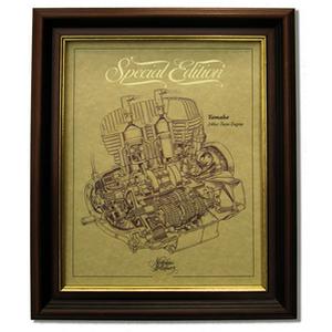YAMAHA 250 TWIN Gold Leaf Limited Edition Engine Drawing